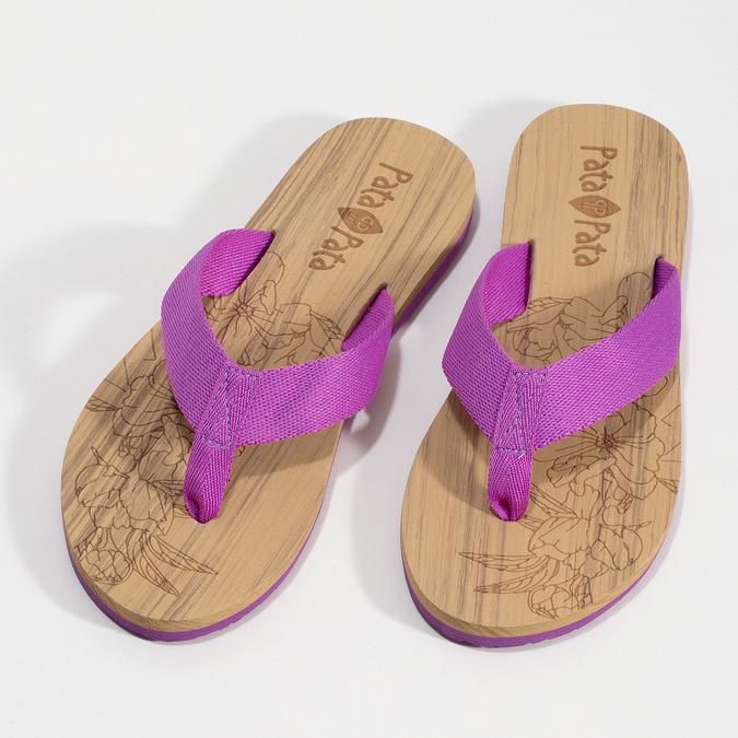 Dámske fialové žabky pata-pata, fialová, 579-5630 - 16
