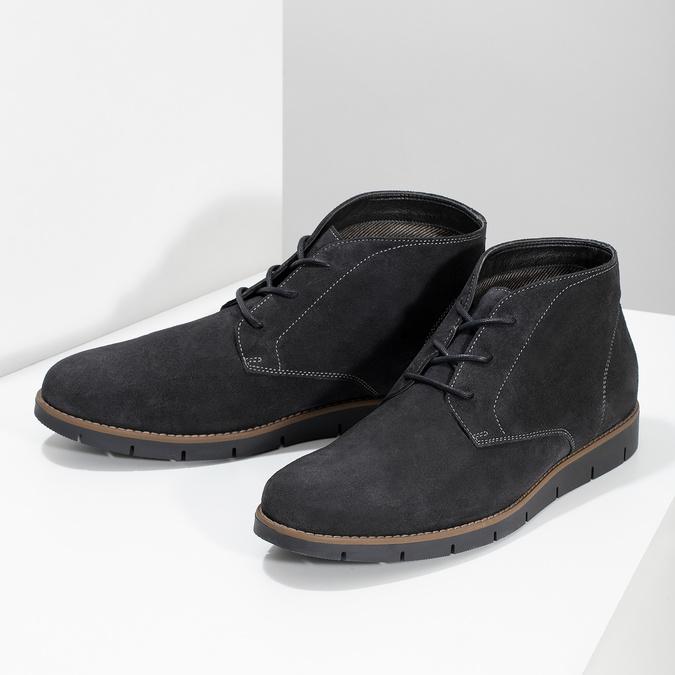 Pánska členková modrá kožená obuv flexible, modrá, 823-2632 - 16