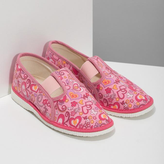 Ružové dievčenské prezuvky so vzorom bata, ružová, 179-5213 - 26