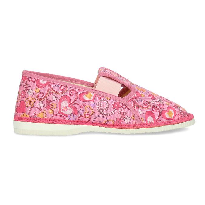 Ružové dievčenské prezuvky so vzorom bata, ružová, 179-5213 - 19