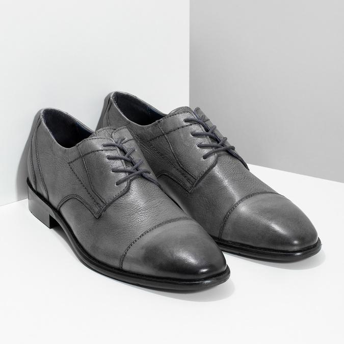 Kožené šedé pánske Derby poltopánky bata, šedá, 826-2782 - 26