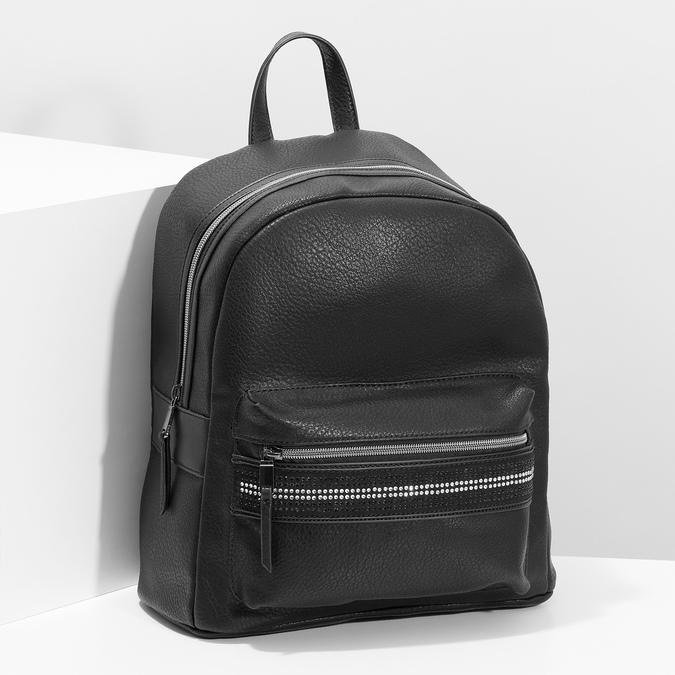 Čierny dámsky batoh s kamienkami bata, čierna, 961-6867 - 17