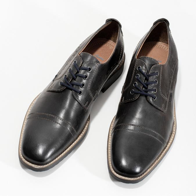 Pánske kožené Derby poltopánky bata, čierna, 826-2866 - 16
