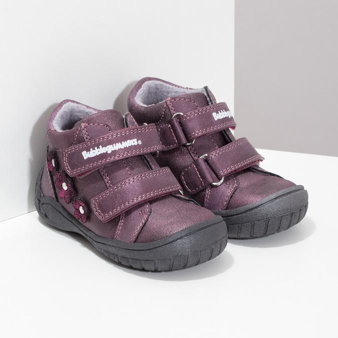 Fialové dievčenské topánky s kytičkami bubblegummers, fialová, 121-5622 - 26
