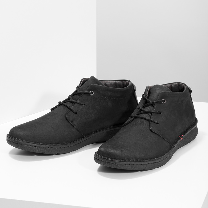 Pánska členková obuv z brúsenej kože bata, čierna, 846-6716 - 16