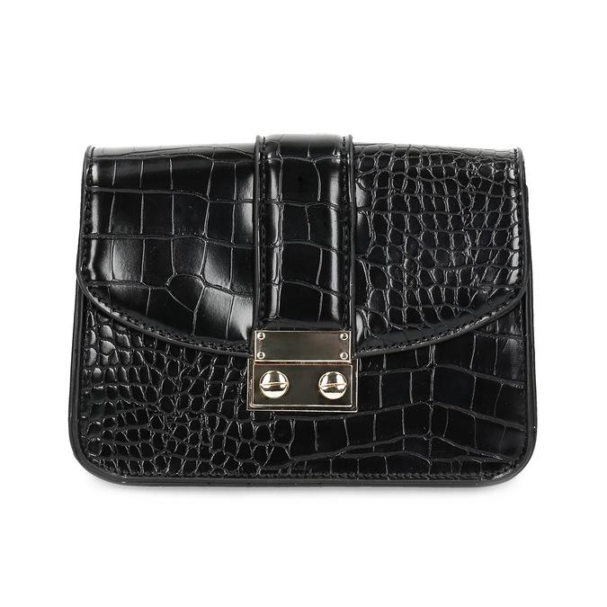 Čierna Crossbody kabelka so štruktúrou bata, čierna, 961-6869 - 26