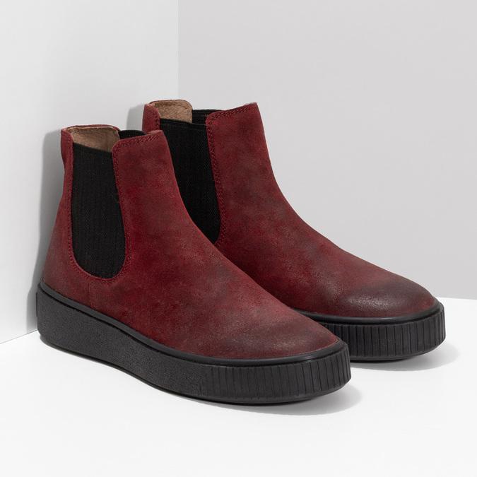 Kožená vínová dámska Chelsea obuv bata, červená, 596-5713 - 26
