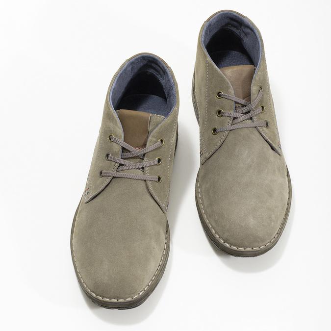 Kožená pánska členková obuv s prešitím bata, šedá, 843-2640 - 16