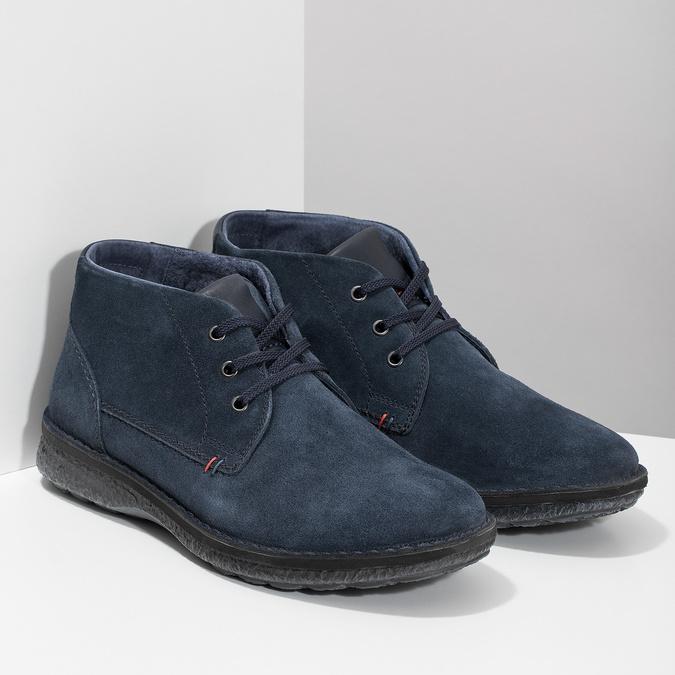 Modrá kožená pánska členková obuv bata, modrá, 843-9640 - 26