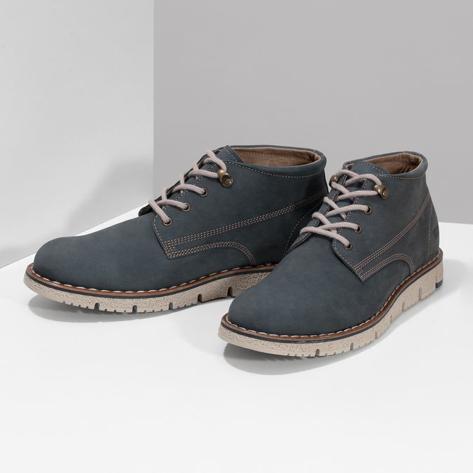 Pánska kožená členková modrá obuv weinbrenner, modrá, 846-9658 - 16