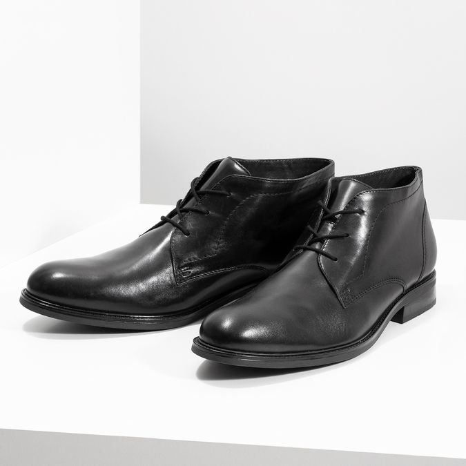 Kožená pánska členková obuv bata, čierna, 824-6893 - 16