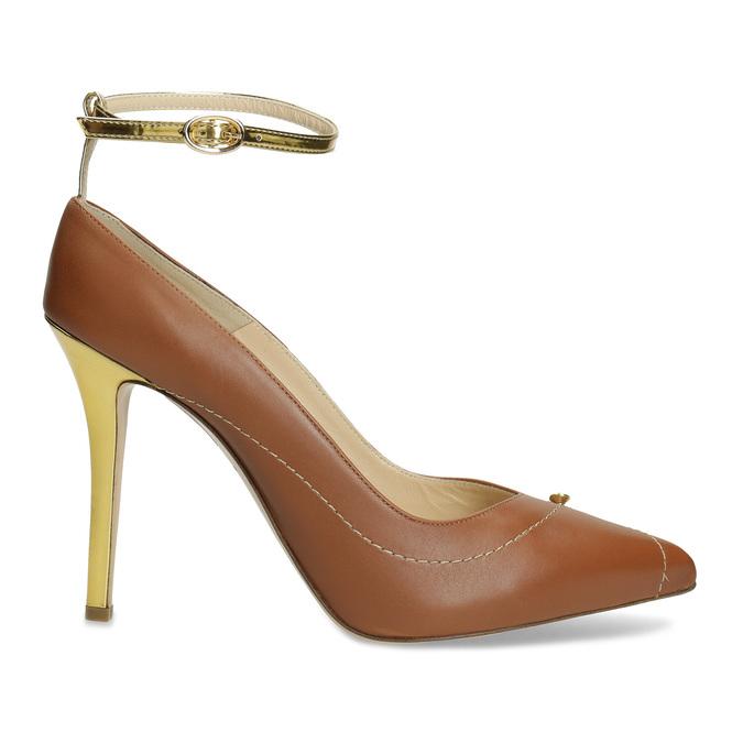 Hnedé kožené lodičky s kamienkami Preciosa bata, hnedá, 724-3332 - 19