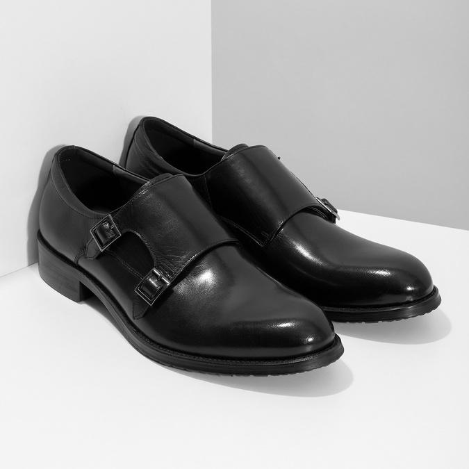Pánske kožené Monk shoes čierne bata, čierna, 824-6632 - 26