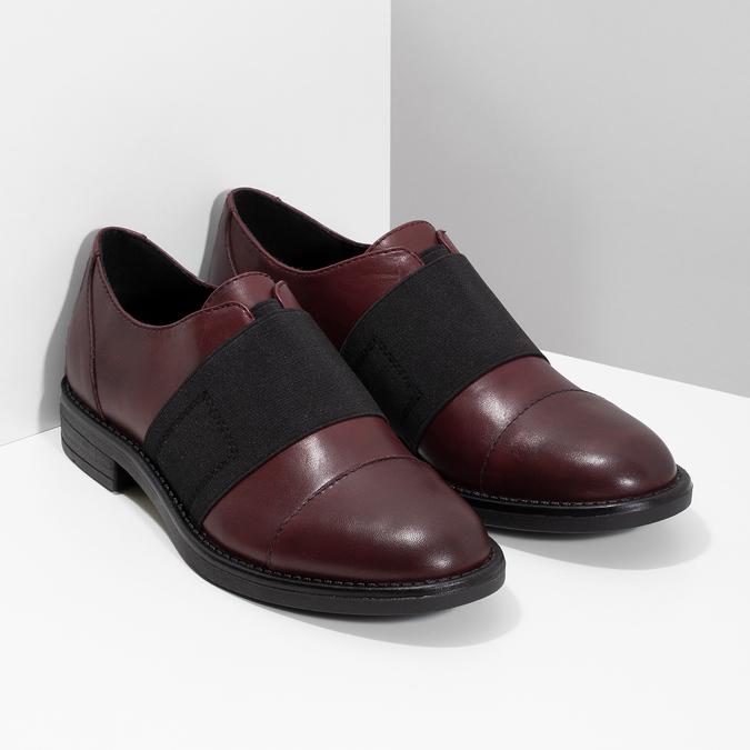 Vínové dámske poltopánky s elastickým pruhom bata, červená, 514-5602 - 26