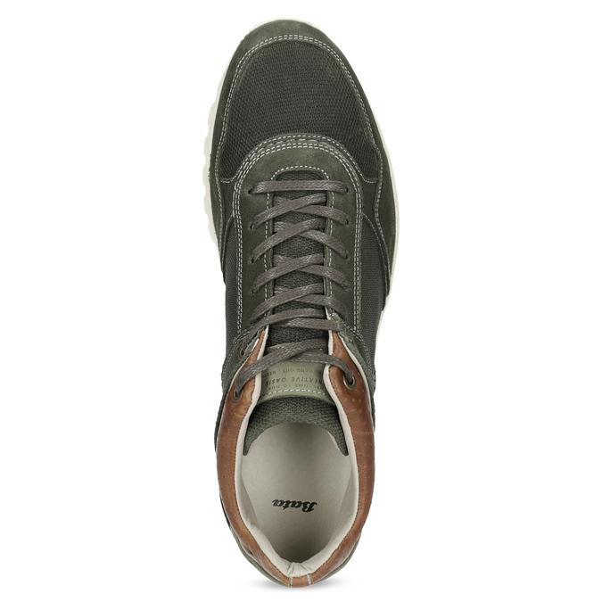 Pánske kožené členkové tenisky bata, zelená, 846-7717 - 17