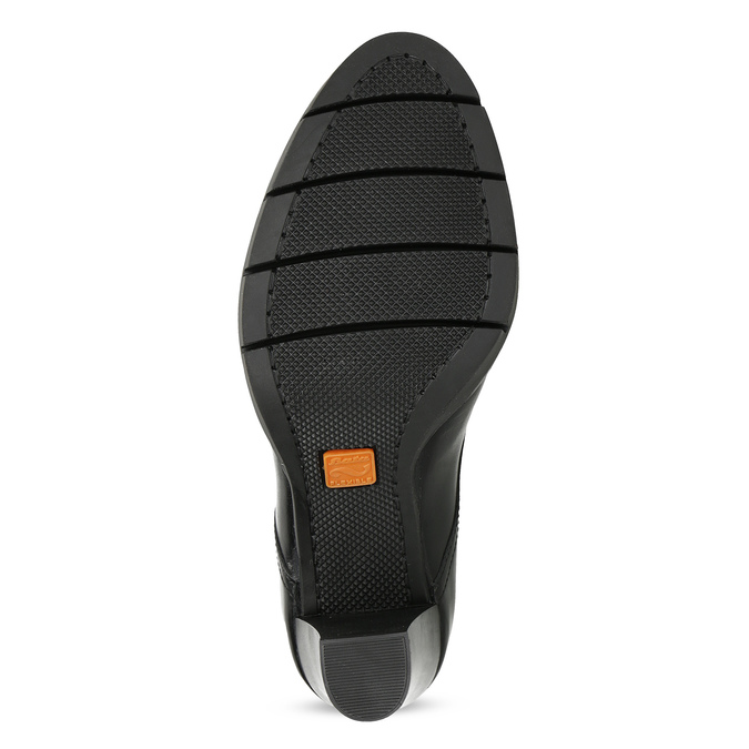 Dámske kožené poltopánky na podpätku flexible, čierna, 724-6653 - 18