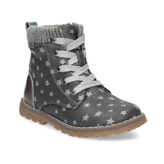 Šedá členková detská obuv s hviezdičkami mini-b, šedá, 221-2610 - 13