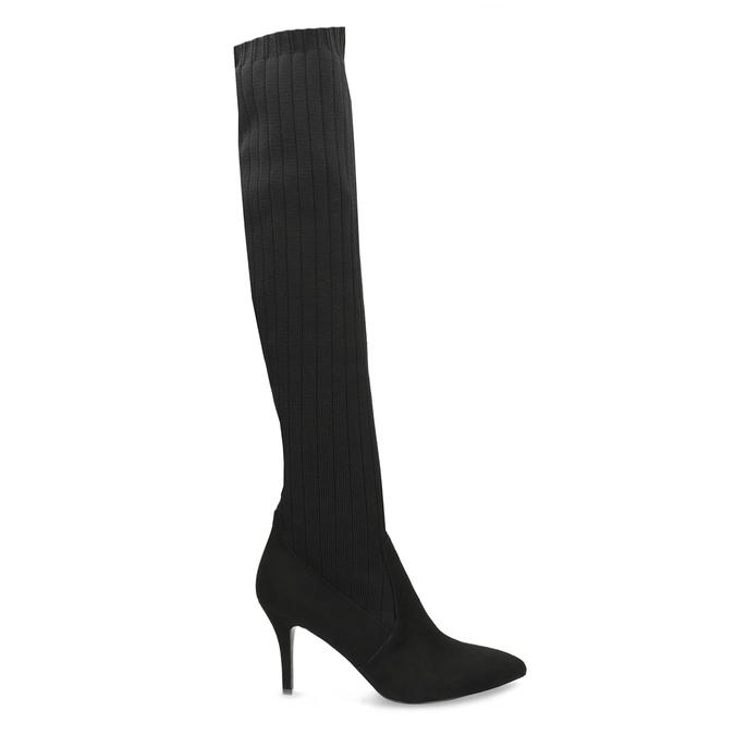 Čierne ponožkové čižmy na ihličkovom podpätku bata, čierna, 799-6639 - 19