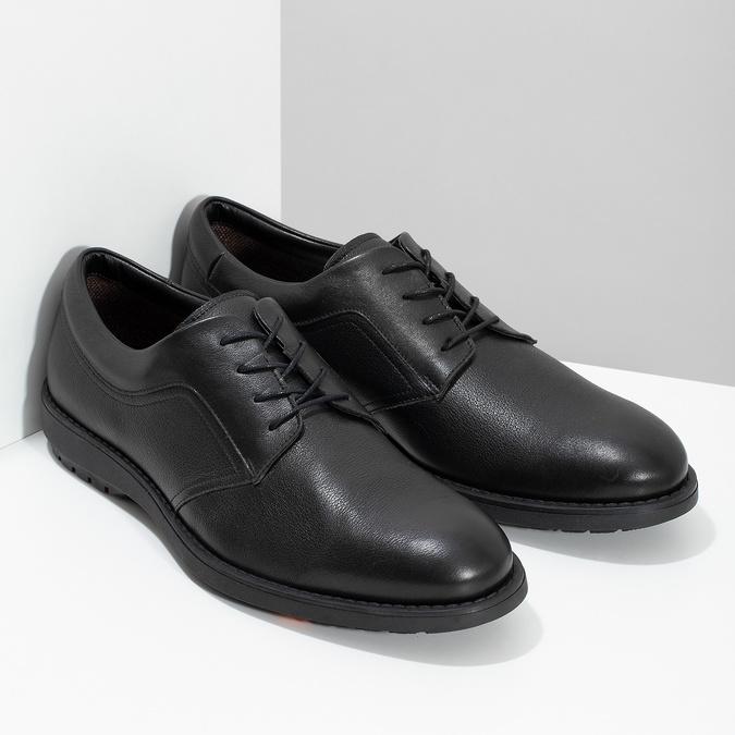 Pánske čierne kožené poltopánky flexible, čierna, 824-6766 - 26