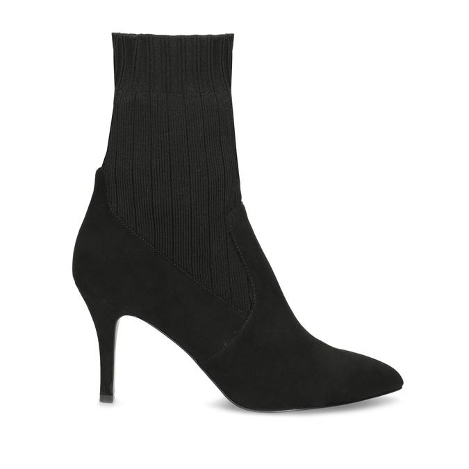 Čierne ponožkové čižmy na ihličkovom podpätku bata, čierna, 799-6640 - 19