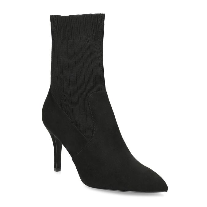 Čierne ponožkové čižmy na ihličkovom podpätku bata, čierna, 799-6640 - 13