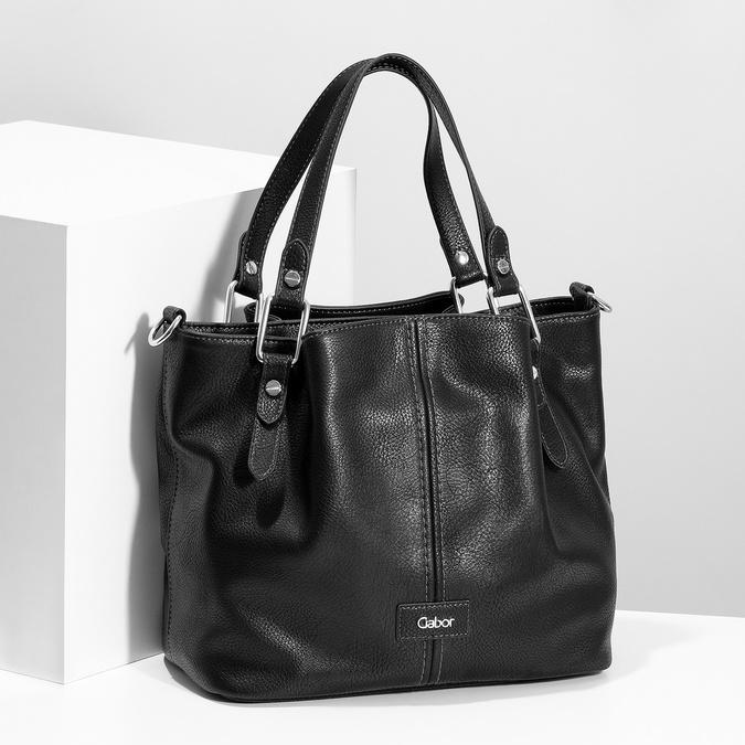 Čierna kabelka s prešitím gabor-bags, čierna, 961-6064 - 17
