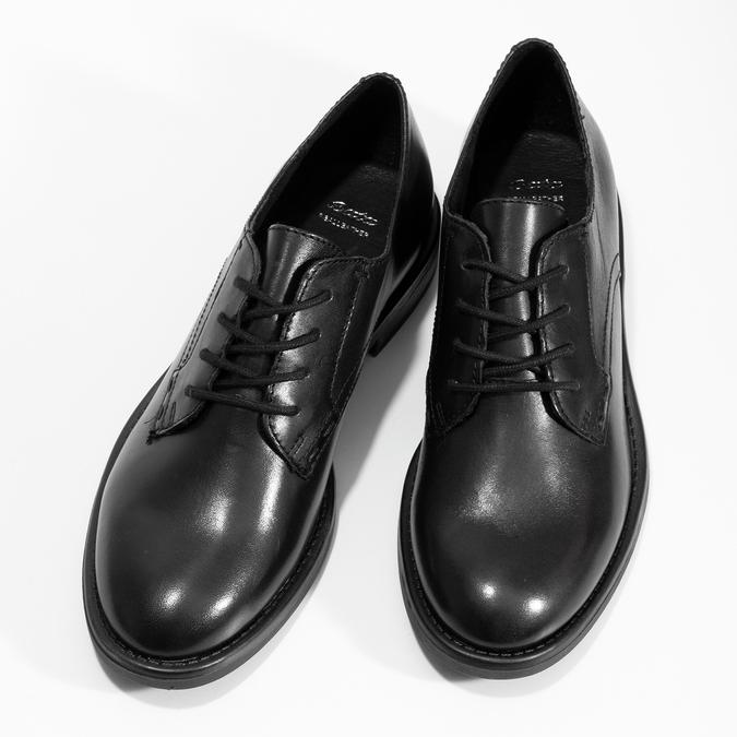 Čierne dámske kožené poltopánky bata, čierna, 524-6666 - 16