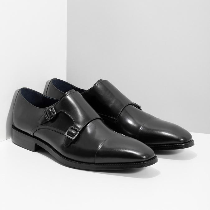 Pánske kožené Monk Shoes poltopánky bata, čierna, 824-6613 - 26
