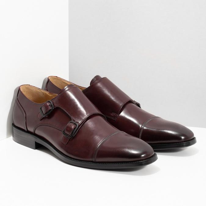 Pánske kožené Monk Shoes poltopánky bata, červená, 826-5738 - 26