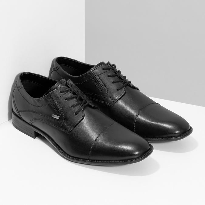 Čierne kožené derby poltopánky bugatti, čierna, 824-6088 - 26