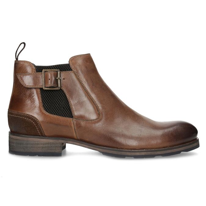 Hnedá kožená členková obuv s prackou bata, hnedá, 826-4781 - 19