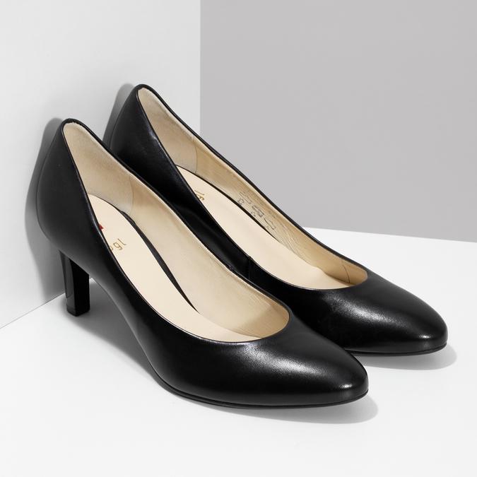 Čierne kožené dámske lodičky hogl, čierna, 724-6085 - 26