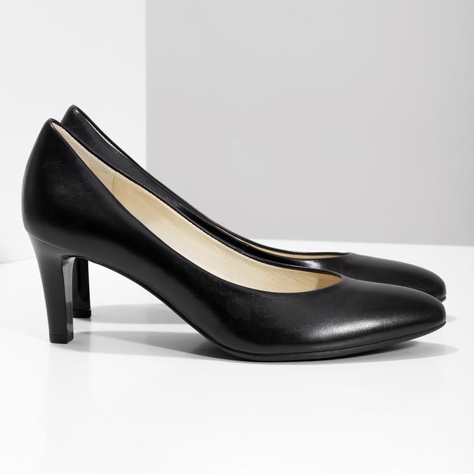 Čierne kožené dámske lodičky hogl, čierna, 724-6085 - 16