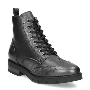 Dámska kožená metalická členková obuv flexible, strieborná, 596-6695 - 13