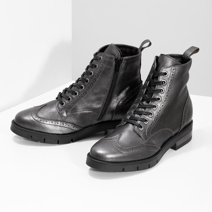 Dámska kožená metalická členková obuv flexible, strieborná, 596-6695 - 16
