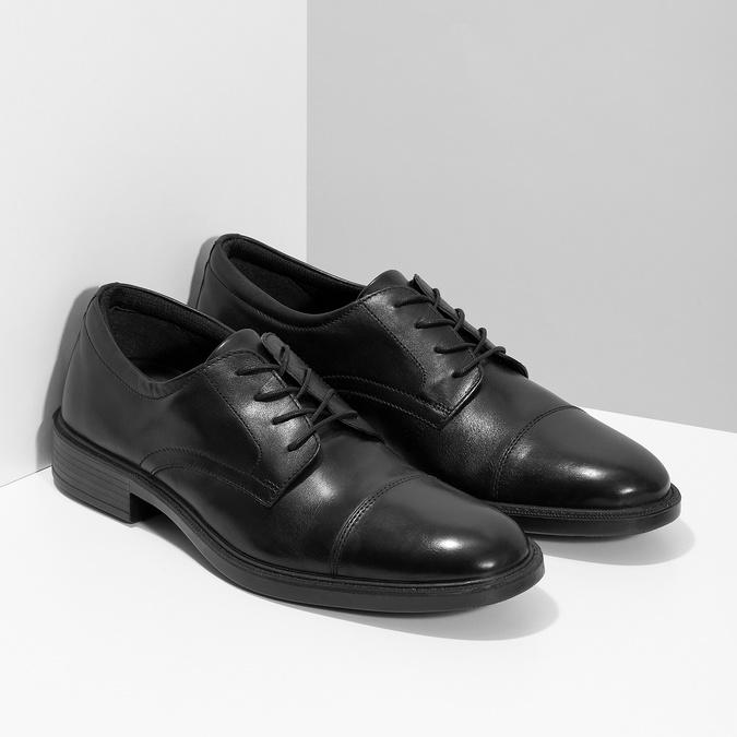 Pánske kožené poltopánky čierne comfit, čierna, 824-6820 - 26