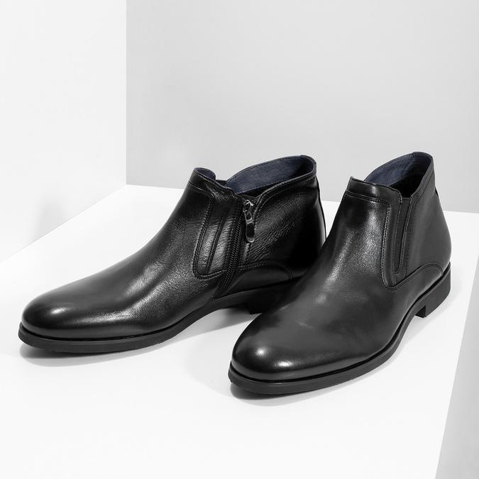 Kožená členková pánska obuv s prešitím bata, čierna, 824-6621 - 16