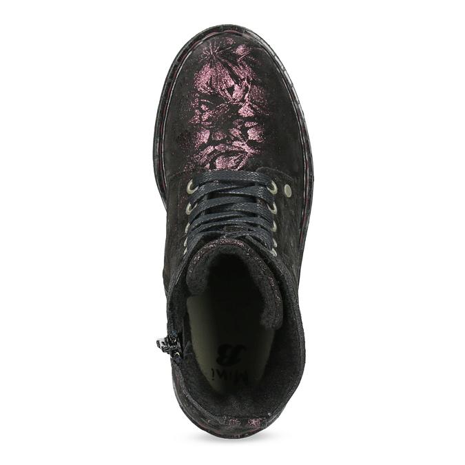 Členková kožená detská obuv so vzorom mini-b, hnedá, 426-4560 - 17