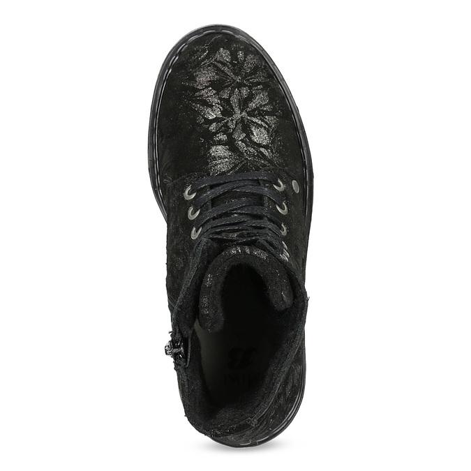 Detská kožená členková obuv so vzorom mini-b, čierna, 426-2560 - 17