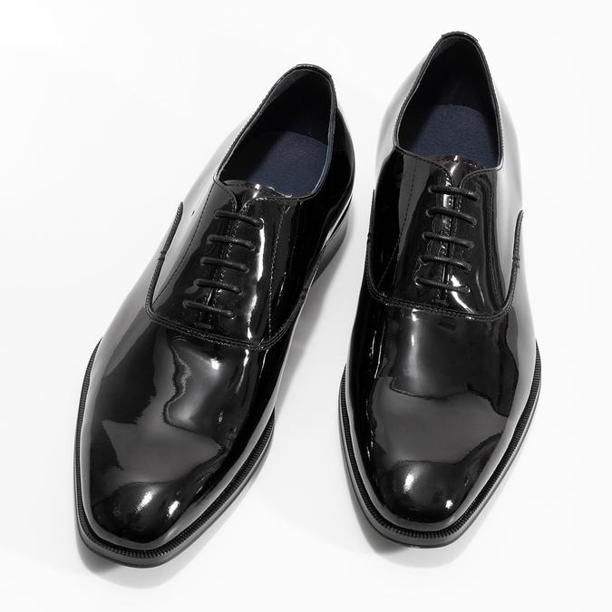 Pánske lakované kožené Oxford poltopánky bata, čierna, 828-6608 - 16