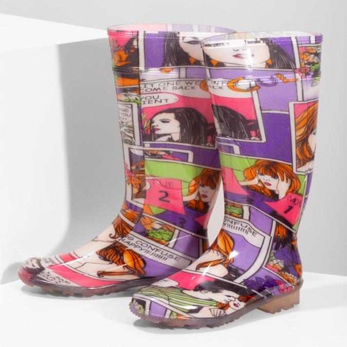 Dámske komixové gumáky bata, viacfarebné, 592-0606 - 16