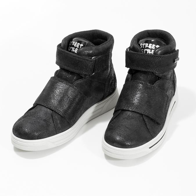 Kožené čierne detské členkové tenisky mini-b, čierna, 323-6603 - 16