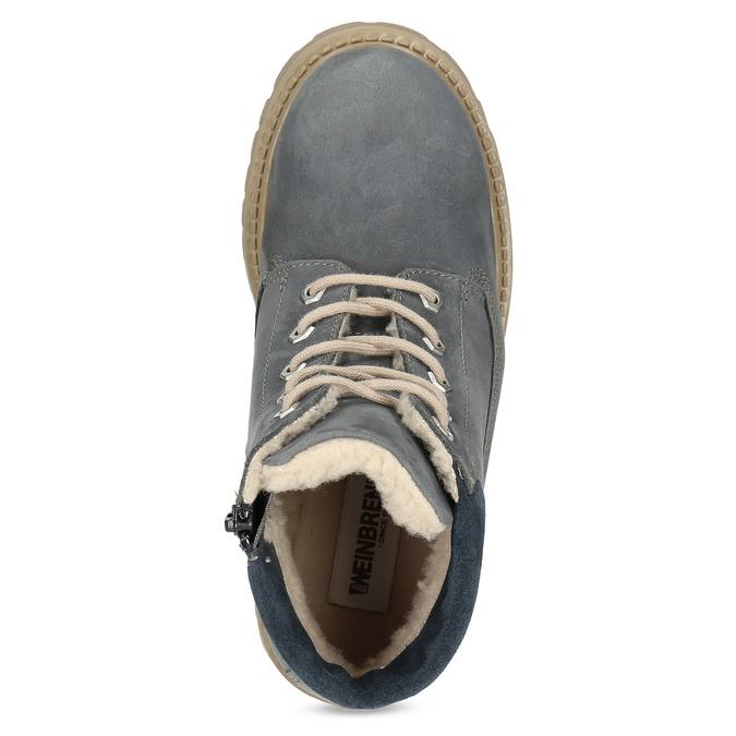 Kožená detská členková obuv weinbrenner-junior, modrá, 416-9608 - 17