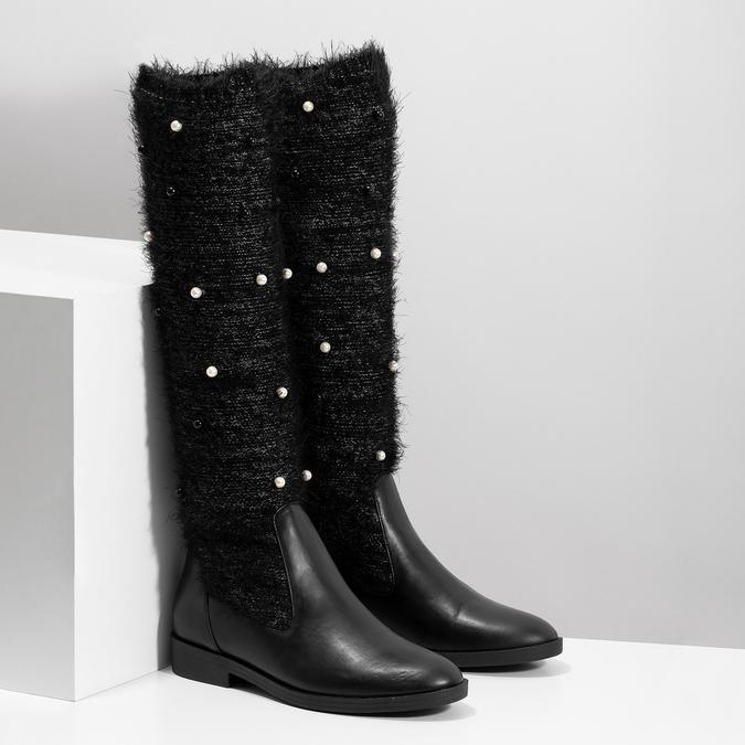 Čierne čižmy s perličkami bata, čierna, 599-6619 - 26