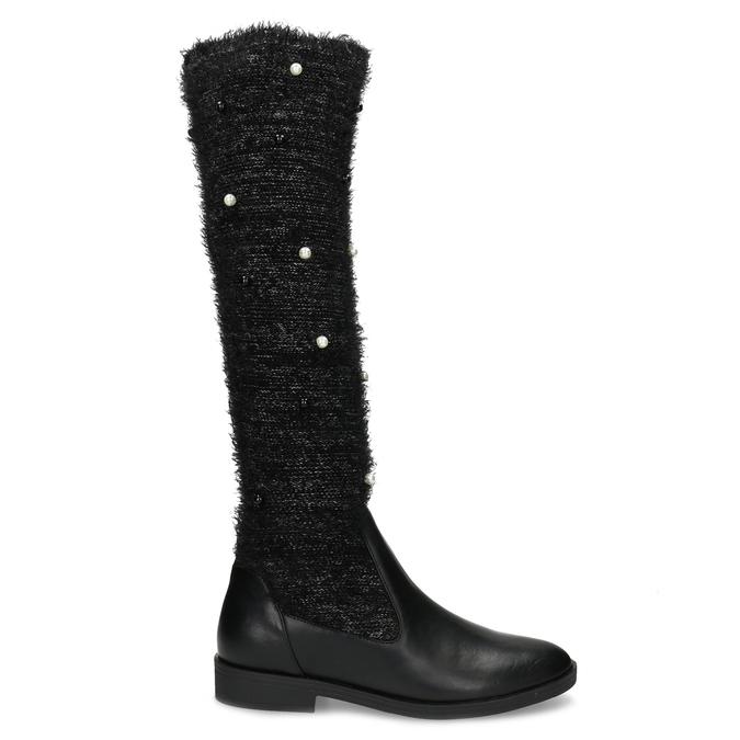 Čierne čižmy s perličkami bata, čierna, 599-6619 - 19