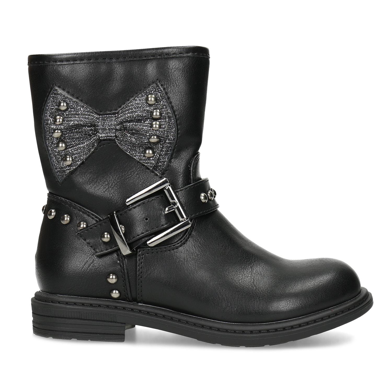 Mini B Detské čierne čižmy s mašľou - Všetky dievčenské topánky ... bee1113cf13
