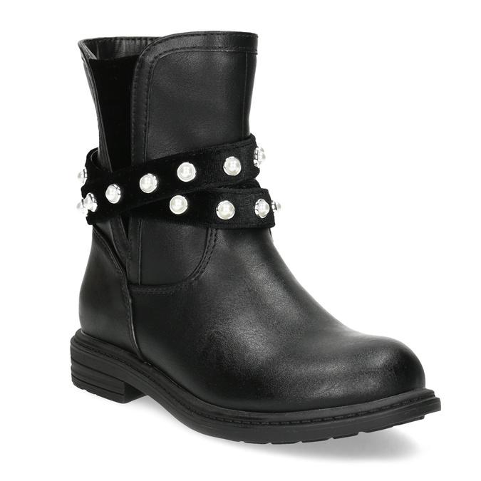 Dievčenské zateplené čižmy s perličkami mini-b, čierna, 291-6111 - 13