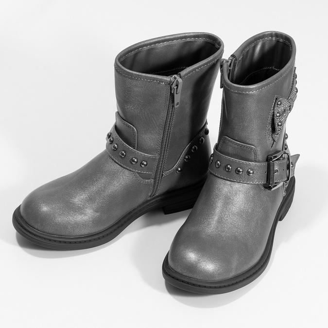 Detské šedé čižmy s mašľou mini-b, šedá, 291-3132 - 16