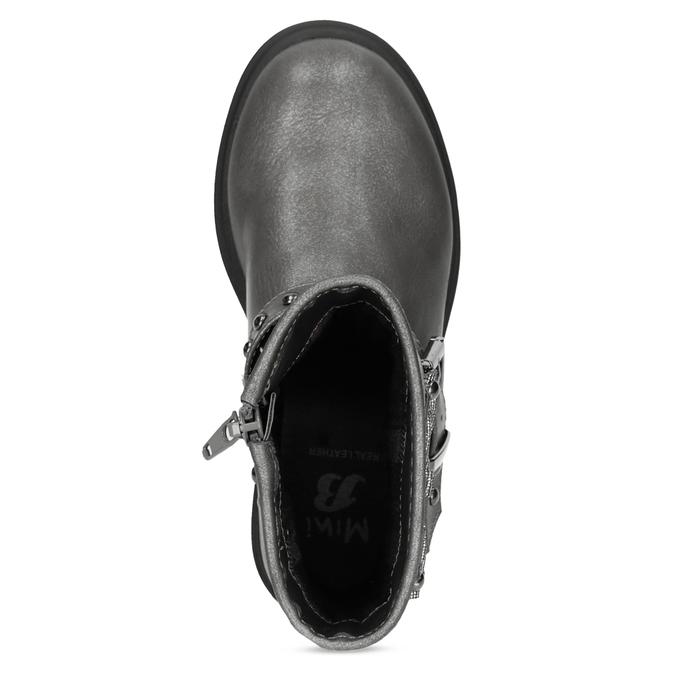 Detské šedé čižmy s mašľou mini-b, šedá, 291-3132 - 17