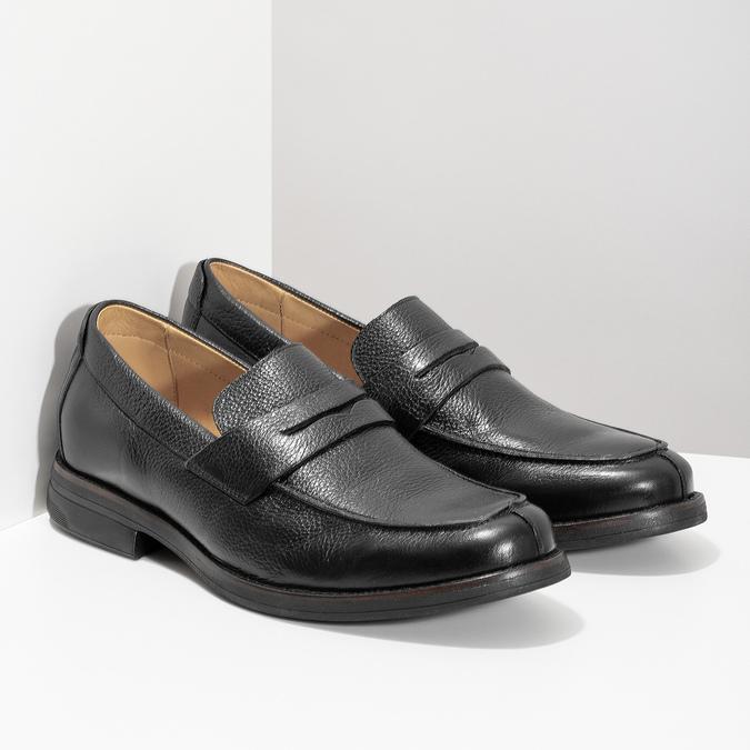 Kožené čierne Penny Loafers mokasíny comfit, čierna, 814-6627 - 26